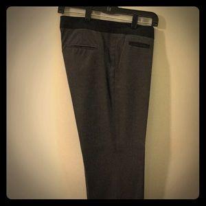 Grey slacks with black tuxedo style waist